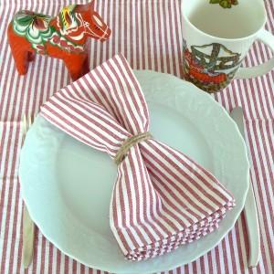 Stoffserviette rot weiß gestreift recycelt 2er Set