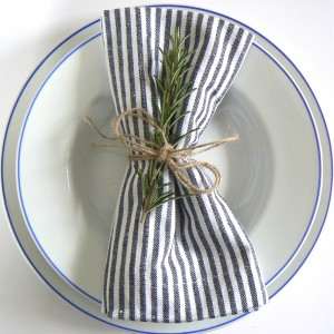 Baumwollserviette blau weiß gestreift recycelt