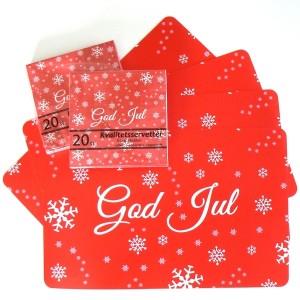 4 Tischsets God Jul rot mit 40 Servietten