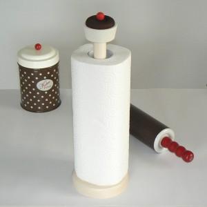 """Küchenpapierständer """"Schokoladencupcake"""" aus Holz (Lieferung ohne Dose, Nudelholz, Küchenpapier)"""