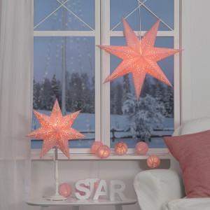 Romantische Adventsbeleuchtung: Leucht-Stern zum Hängen und Standleuchte rosa weiß