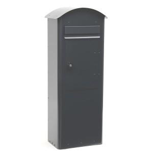 Grauer Standbriefkasten Safepost 70-5 Combi anthrazitgrau aus Schweden