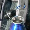 Für Schwedenfans: Trinkflasche 750 ml aus Edelstahl mit Karabinerhaken