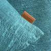 Kissenhülle / Kissenbezug 45x45 cm petrol gesmokt aus Baumwolle mit Kunstlederlogo