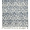 Teppich naturfarben rauchblau 70x140 cm aus Baumwolle gewebt