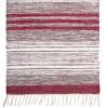 Schwedischer Flickenteppich grau weiß rot aus Baumwolle mit Fransen