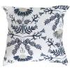 Kissenhülle / Kissenbezug 45x45 cm weiß blau mit Blumenmuster