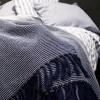 Baumwollplaid Waffelstruktur Anker blau recycelt