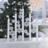 """Lichterbogen """"Schneeflocken"""" 5-flammig weiß aus Holz, Design: Charlotte Falck"""