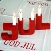 Schwedische Weihnachtsdeko: Kerzenständer JUL aus Holz rot