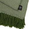 Baumwollplaid Waffelstruktur grün mit langen Fransen