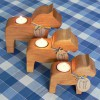3 Teelichthalter Dalahäst skandinavisches Kunstgewerbe