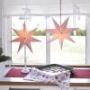 Beleuchteter Papier-Stern und Stand-Stern rot-weiß kariert