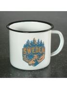 Schweden Souvenir: Emaillebecher / Emailletasse Elch weiß