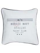 """Maritime Kissenhülle / Kissenbezug 45x45 cm """"Nordic Navy"""" weiß mit blauem Keder aus Baumwolle"""