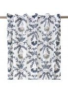 Gardinenschal / Vorhangschal weiß mit blauem Blumenmuster 2er-Set