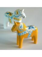 Gelbes Dalapferd 13 cm schwedische Volkskunst, handgeschnitzt und handbemalt