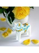 weißes Dalapferd 13 cm handgeschnitzt und handbemalt in Schwedenfarben