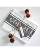 Geschirrtuch God Jul dunkelgrau weiß recycelt