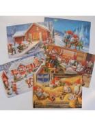 5 Schwedische Weihnachtskarten mit Tomte-Motiven von Lars Carlsson