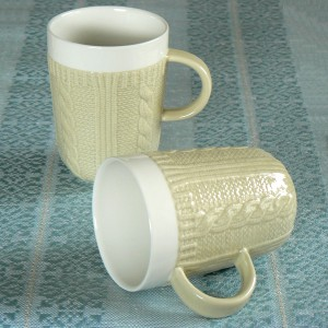 Kaffeebecher / Teebecher Strickmuster creme