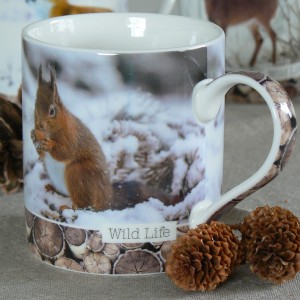 Kaffeebecher / Teebecher Eichhörnchen aus Porzellan