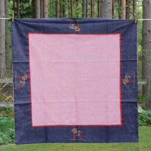 Tischdecke Dalapferd Schweden bestickt 80x80 cm Baumwolle