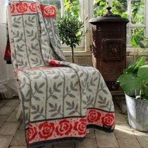 Wolldecke / Schurwolldecke Wohndecke mit Rosen grau weiß rot