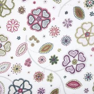 Gardinenschal / Vorhangschal Retro Blumen 2er-Set