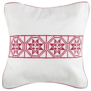 """Weihnachtliche Kissenhülle 45x45 cm """"Sterne"""" bestickt rot-weiß"""