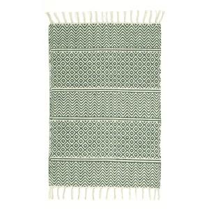 Teppich creme grün  70x140 cm Baumwolle