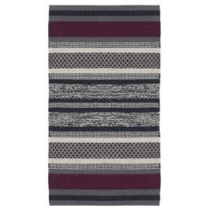 Teppich grau weinrot 70x140 cm Baumwolle gewebt