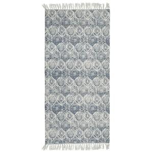 Webteppich naturfarben rauchblau 70x140 cm aus Baumwolle