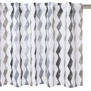 Skandinavischer Querbehang aus Baumwolle mit Wellenmuster weiß grau beige