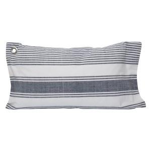 Kissenhülle / Kissenbezug 30 x 50 cm blau-weiß gewebt aus Baumwolle mit Metallöse