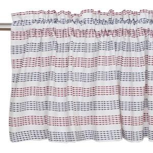 Querbehang / Bistrogardine 250 x 50 cm blau-rot-weiß aus Baumwolle