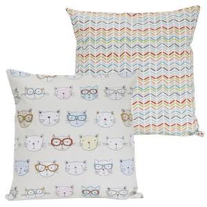 Kissenhülle zum Wenden mit Katzen und Zickzack-Muster