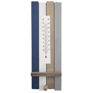 Thermometer aus Holz blau-grau mit Haken