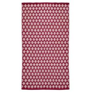 Schwedischer Webteppich aus Baumwolle rot weiß