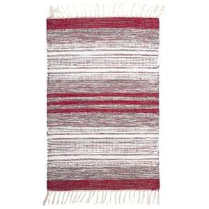 Teppich / Läufer / Brücke 70x140 cm grau weiß rot aus Baumwolle gewebt