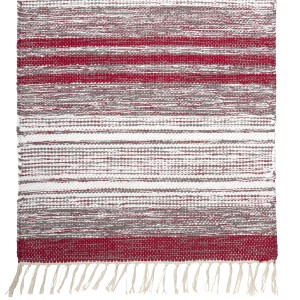 Teppich grau weiß rot 70x240 cm Baumwolle