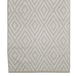Skandinavischer Landhausstil: Teppich Rauten beige 70x240 cm Baumwolle