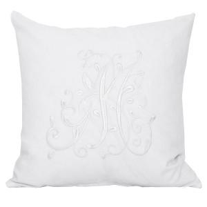 Kissenhülle / Kissenbezug 45x45 cm bestickt weiß Baumwolle