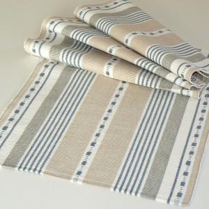"""Tischläufer """"Malte"""" beige dalablau aus Baumwolle gewebt"""
