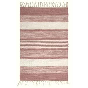 Skandinavischer Landhausstil: Teppich rosa weiß 70x140 cm Baumwolle