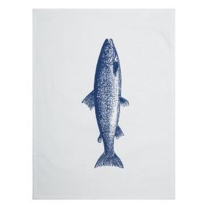 """Maritimes Geschirrtuch """"Forelle blau"""" weißgrundig"""