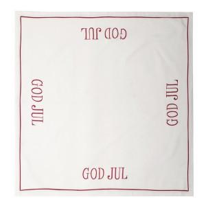 """Tischdecke """"God Jul"""" rot bestickt 85 x 85 cm"""