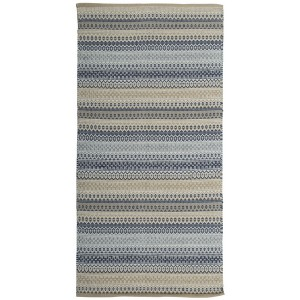 Teppich beige blau grau 70x140 cm Baumwolle