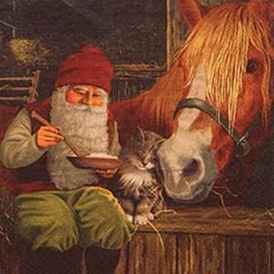 """20 Papier Servietten """"Tomte im Pferdestall"""" für Weihnachten"""