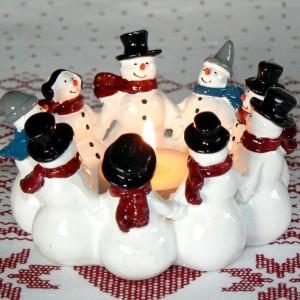 Harvesttime Leuchter Schneemann-Ring aus Keramik